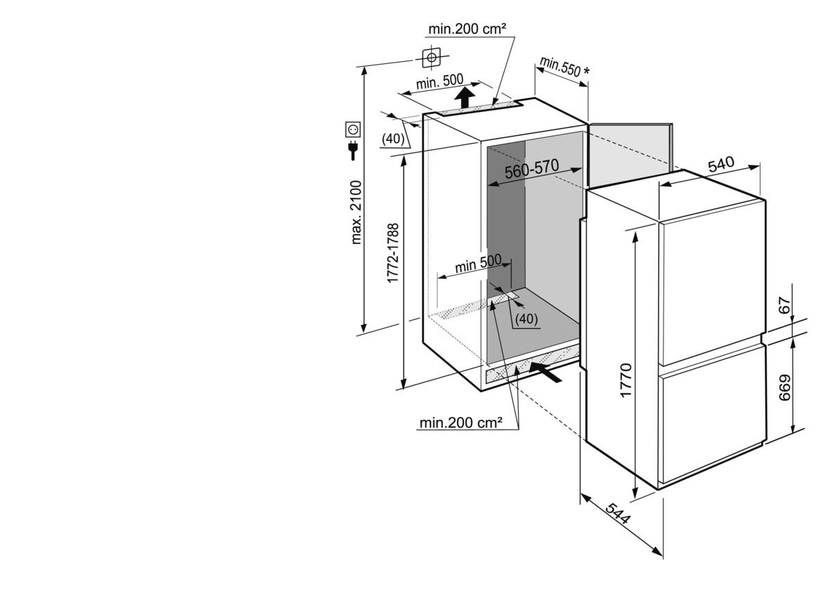 Icuns 3324 comfort nofrost встраиваемый холодильник с морозильной.